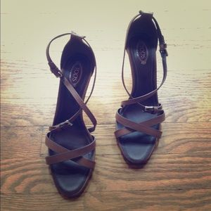 Tod's Brown Leather Strappy Sandals